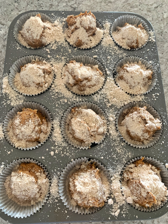Add crumb topping to pumpkin muffins