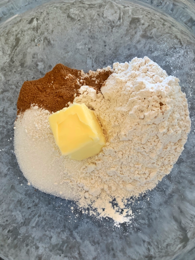 Add ingredients for crumb topping