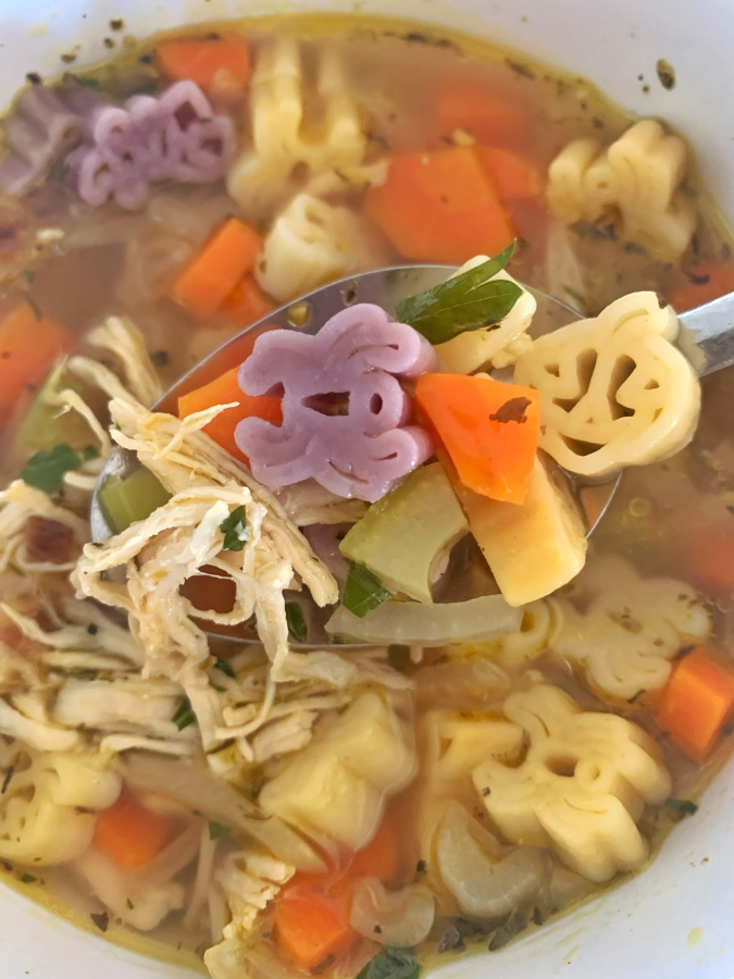 Bowl of Halloween Chicken Noodle Soup