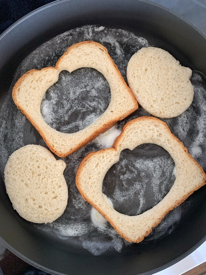 toast bread in skillet
