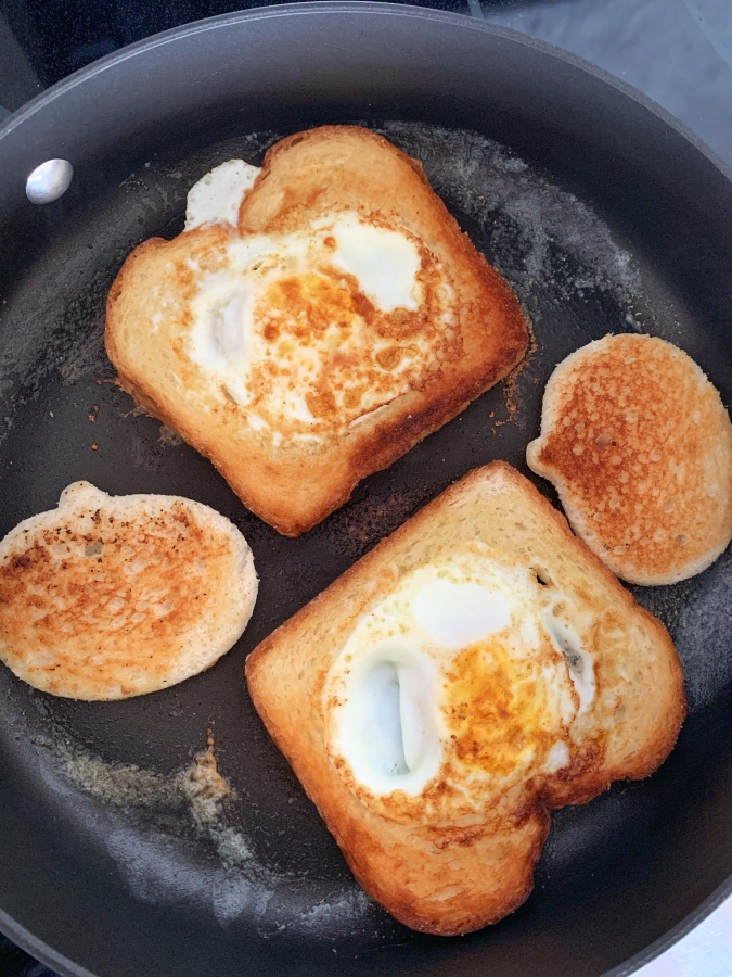 Flip over bread and eggs