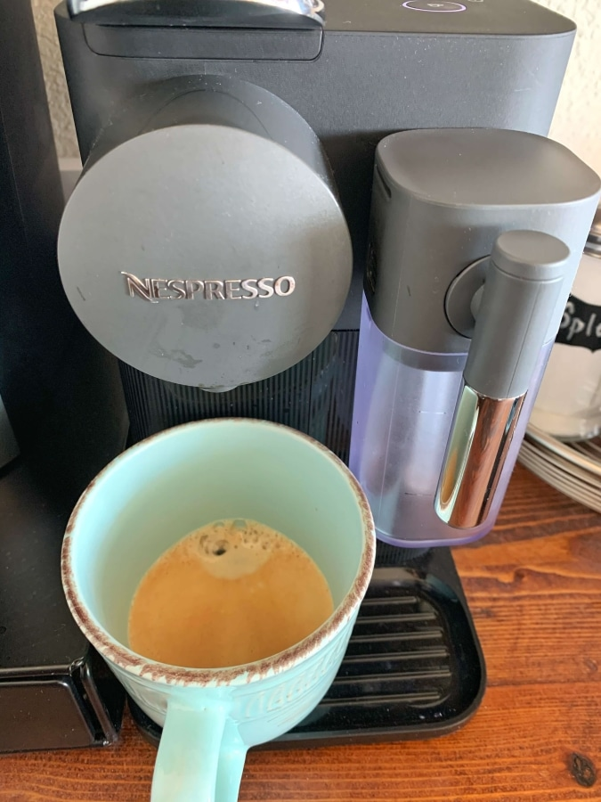 Making espresso with Nespresso machine