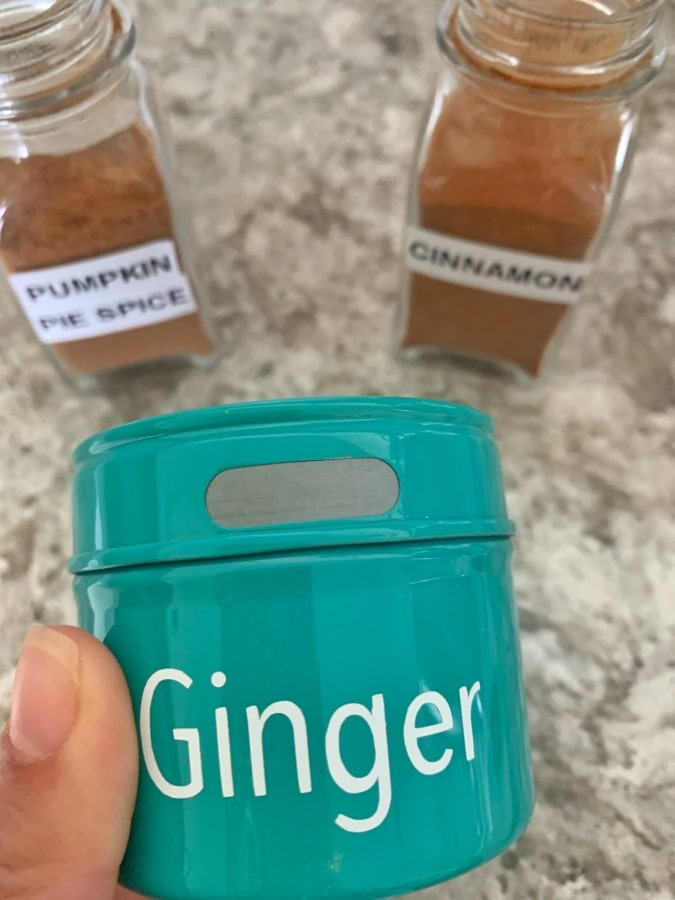 Ginger, pumpkin pie spice and cinnamon