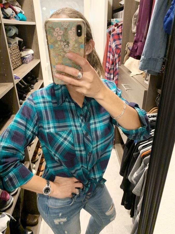MARKET & SPRUCE Jillianne Flannel Button Down Top