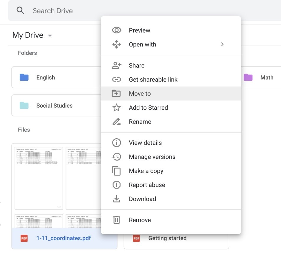 """Move to"" feature on Google Drive"