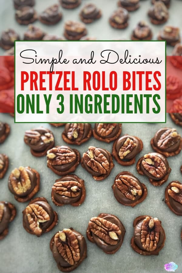 My Simple and Delicious Pretzel Rolo Bites are the perfect pairing of sweet and salty. This simple snack is made in just minutes with 3 ingredients. These little pieces of heaven make it into my Christmas cookie platters every year and are always a huge success. #christmastreats #christmastreat #christmasdessert #lakelifestateofmind
