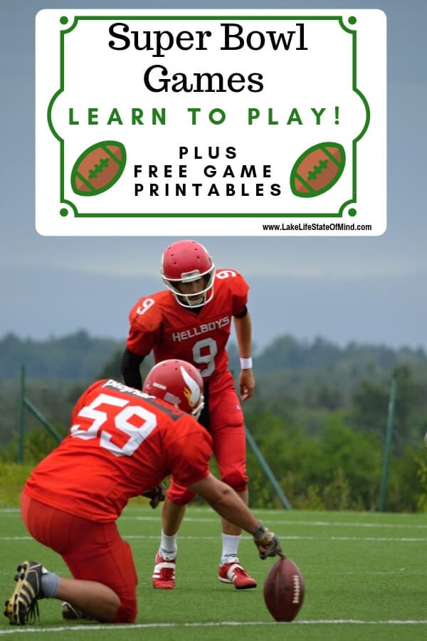 Super Bowl is something we look forward to every year. We throw a huge party and always have Fun Super Bowl Games for our guests to enjoy. Stop by the lake and learn how to play two new Super Bowl games. Don't forget to print your free printables while you're at it! #superbowlparty #superbowlpartyideas #footballparty #lakelifestateofmind