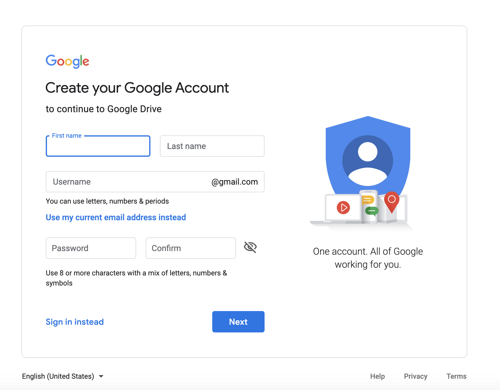 Google Drive Account Creation Page