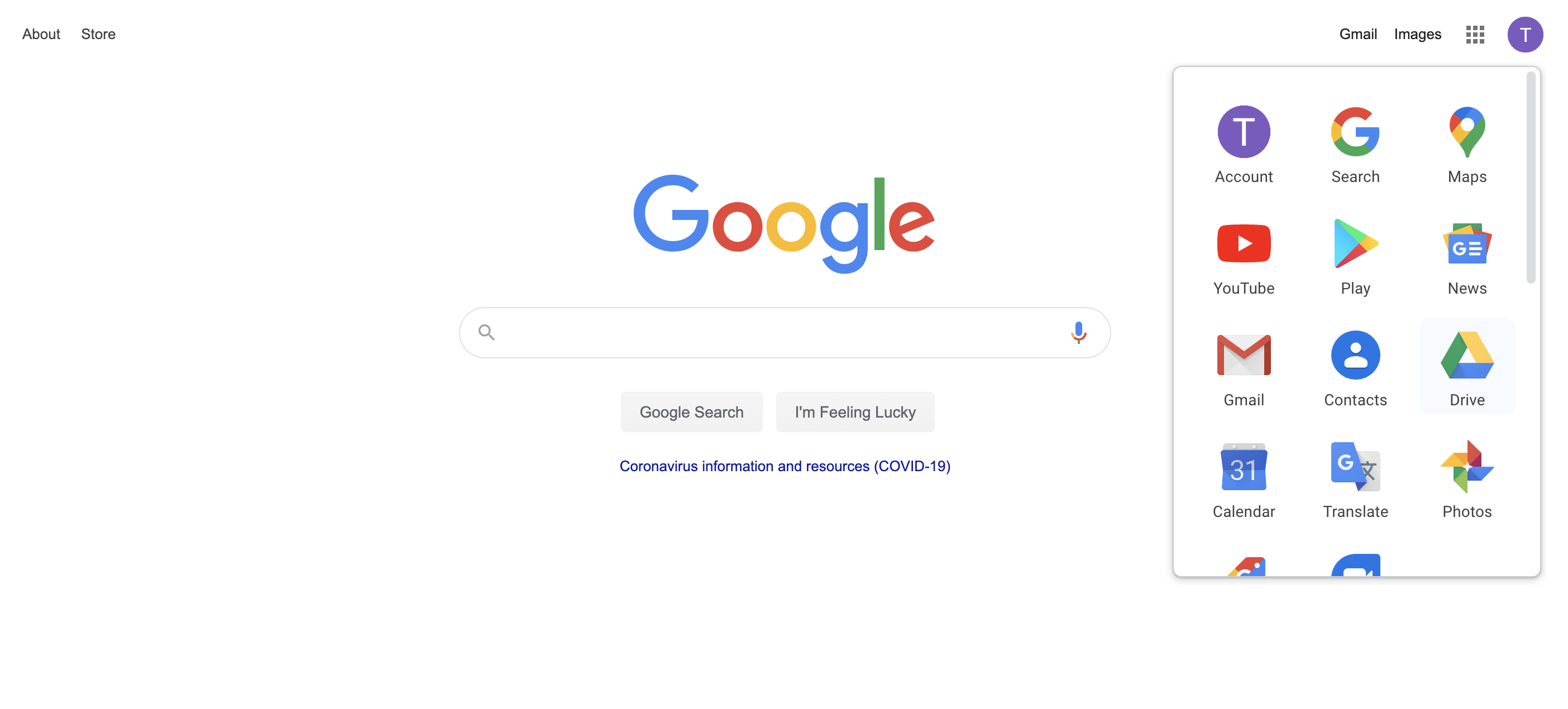 Accessing Google Drive from Google.com
