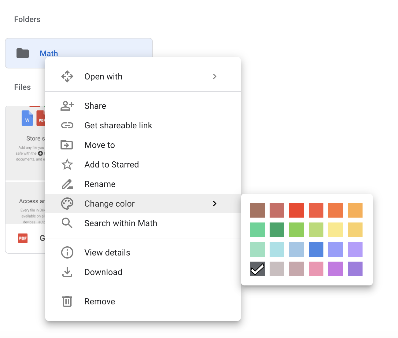 Changing the color of a Google folder