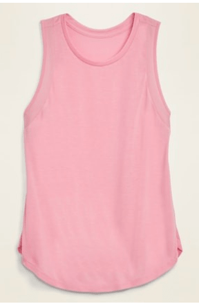 Jersey Mesh-Trim Shirttail-Hem Tank Top for Women