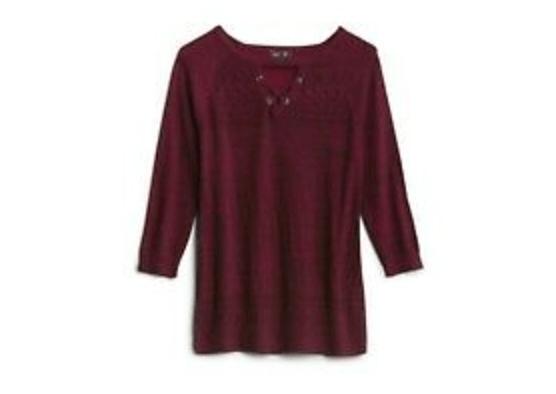 LETY & ME Azalia Keyhole Pointelle Detail Sweater XS