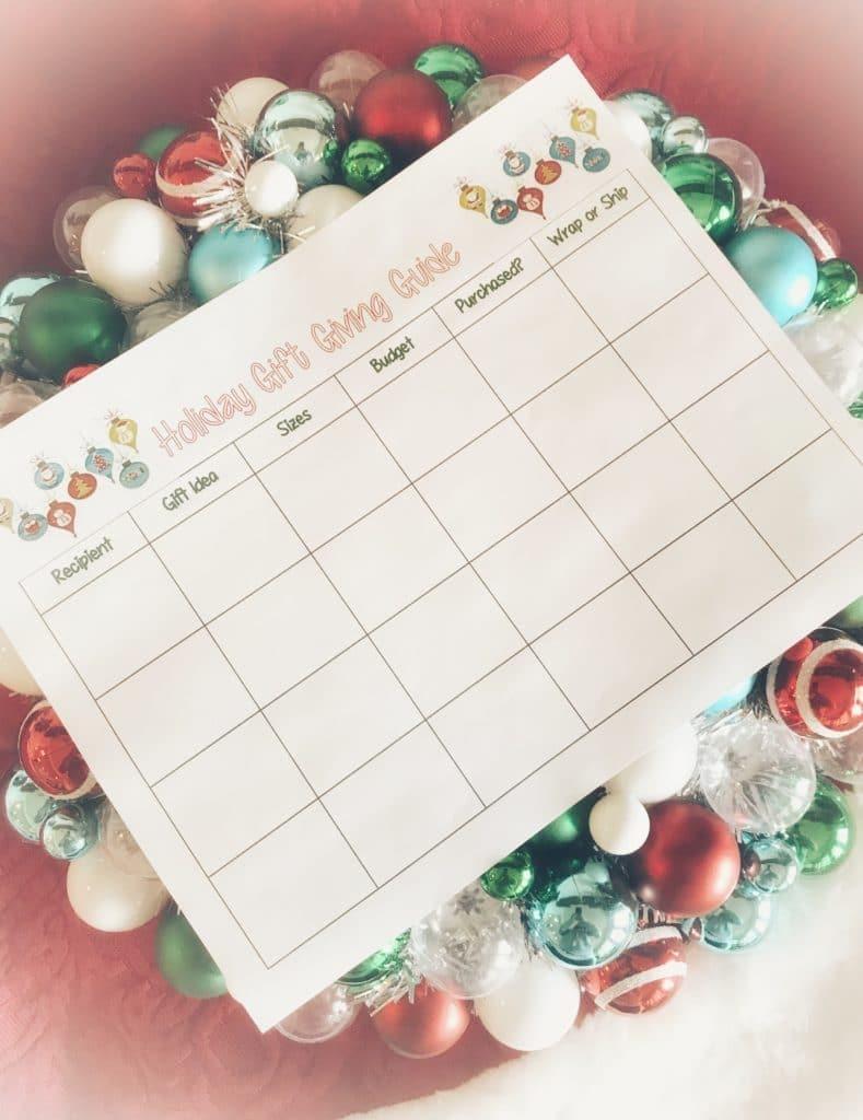 Holiday Gift Organizer | Free Printable