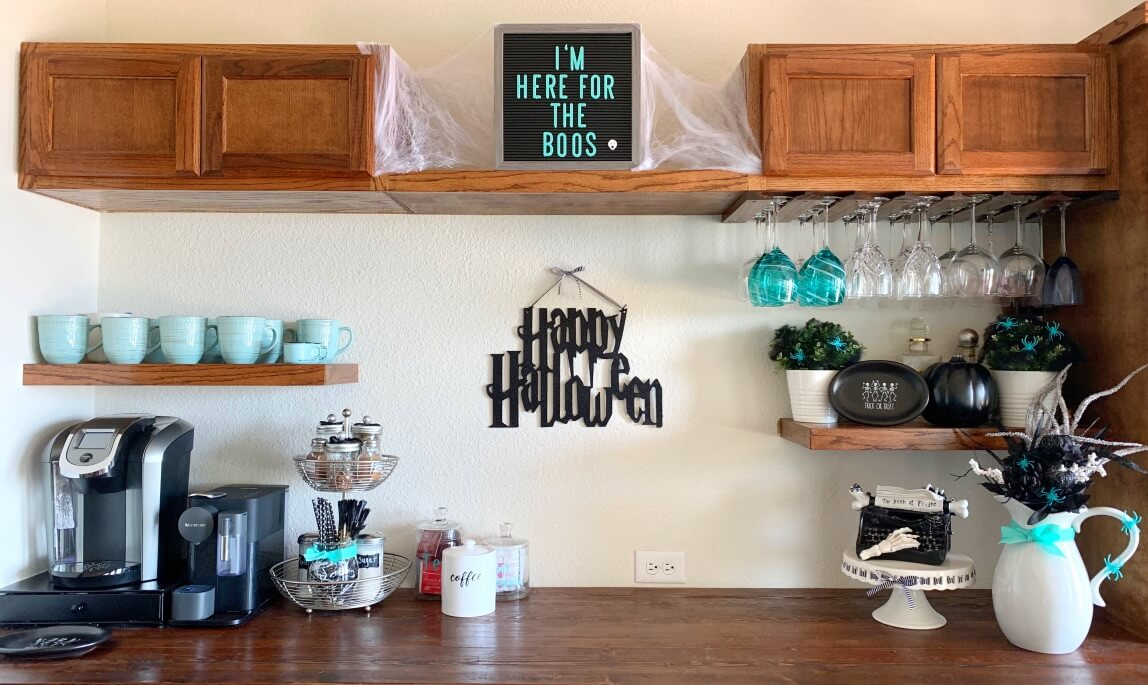 Halloween decorated coffee bar