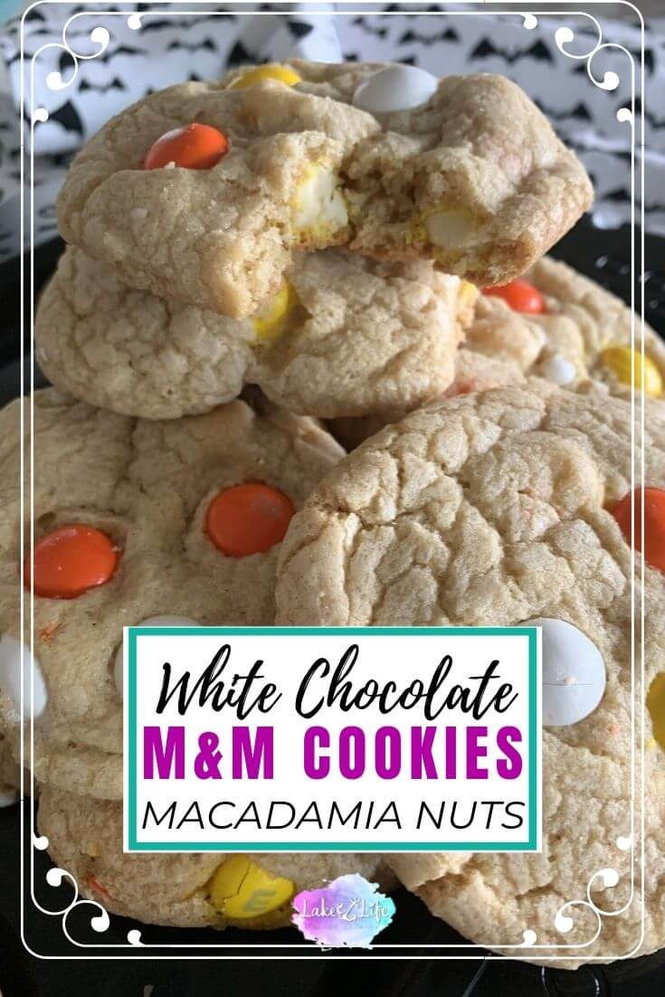 White Chocolate Candy Corn M&M Cookies with Macadamia Nuts are the perfect Halloween treat for the spooky season. These buttery Halloween cookies are an easy homemade recipe perfect for ghosts, witches, and goblins alike.