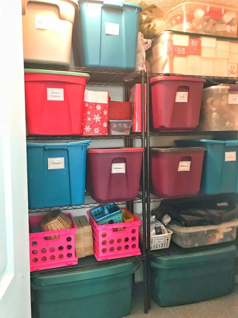 Garage holiday decor storage